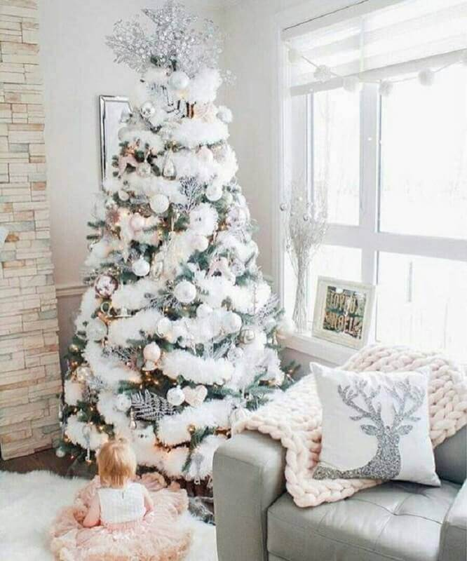 white Christmas tree with festoon Photo Apartment Therapy