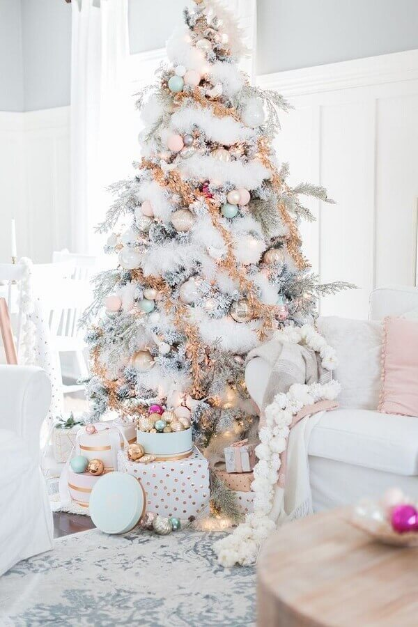 white Christmas tree decorated with golden Christmas festoon Photo Home Furniture