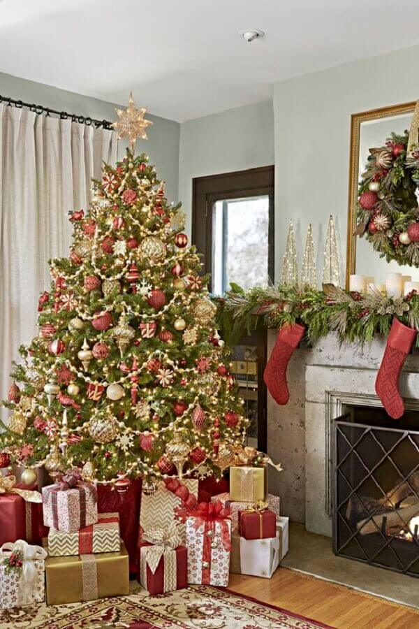 large decorated classic Christmas tree for living room Photo Pinterest