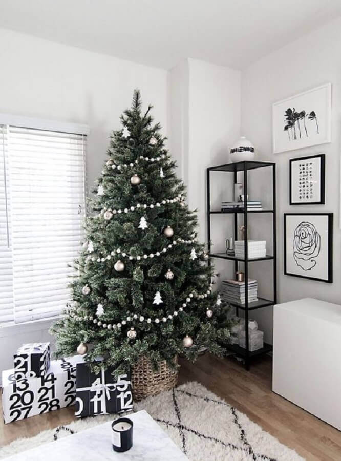 big Christmas tree decorated with silver ornaments Photo Homey Oh My