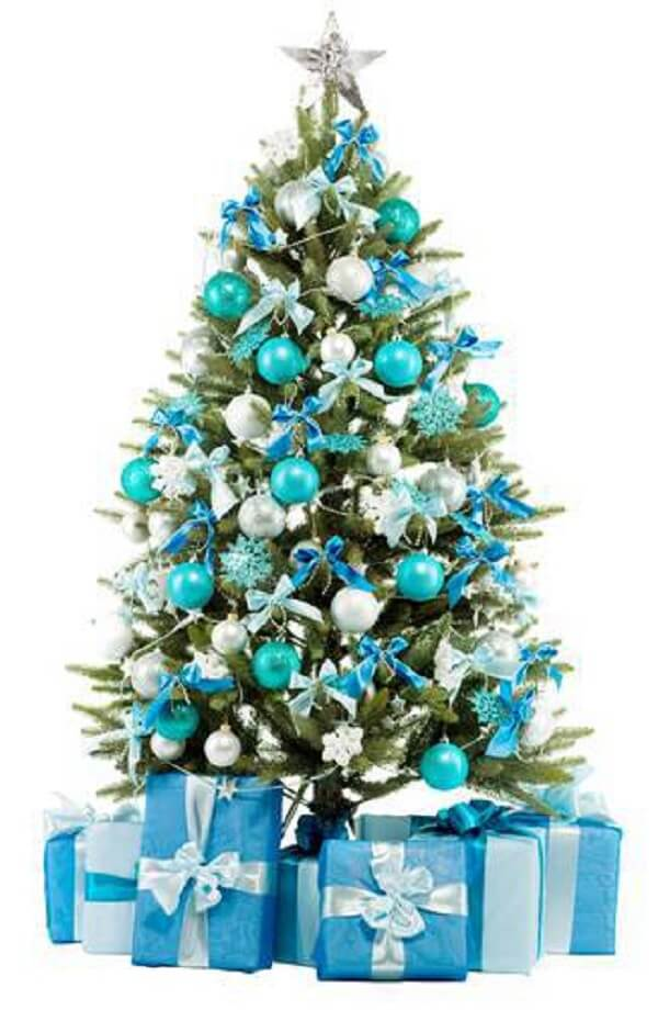The blue Christmas tree is very charming
