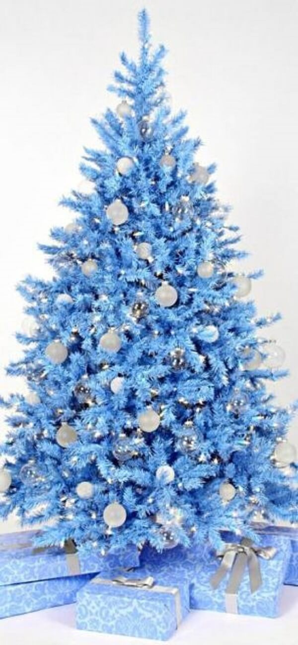 The blue Christmas tree doesn't go unnoticed in the environment