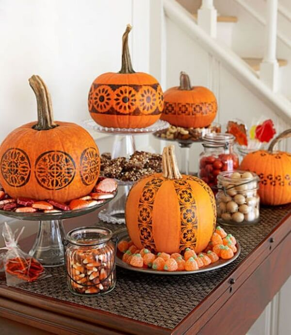 Halloween pumpkin elegantly decorated and painted