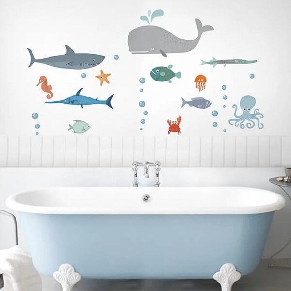 Adesivo para banheiro infantil direto do fundo do mar