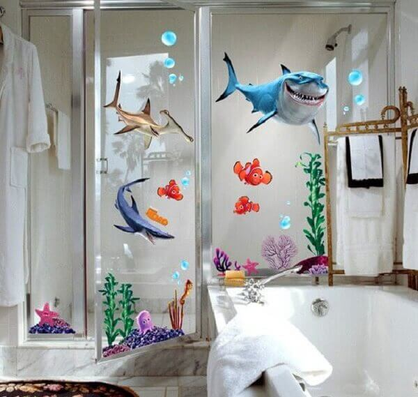Adesivo para banheiro infantil do fundo do mar