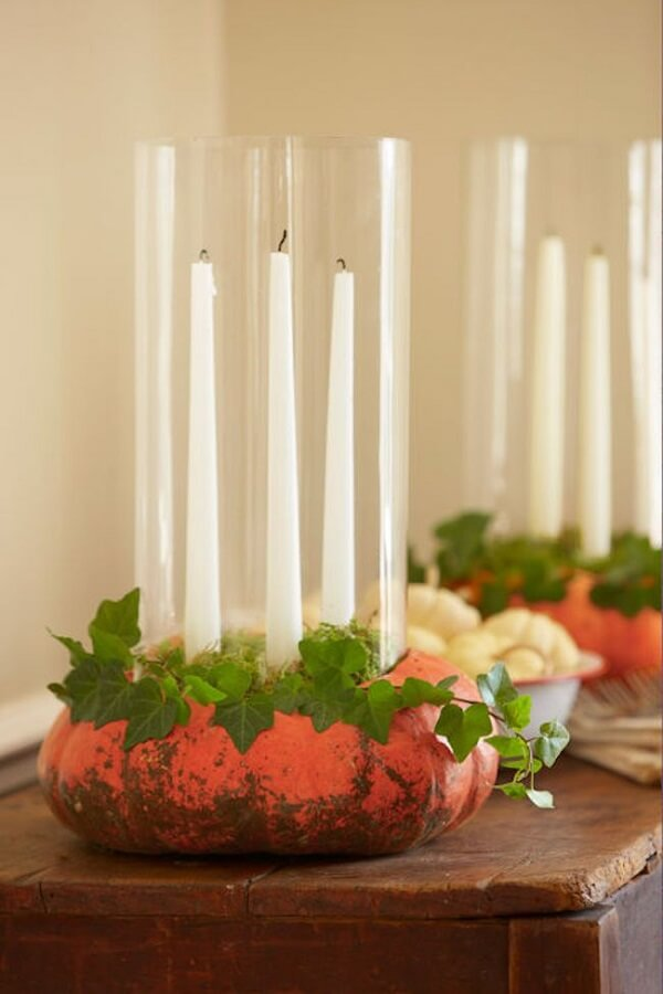 Candles can be part of the halloween pumpkin decoration