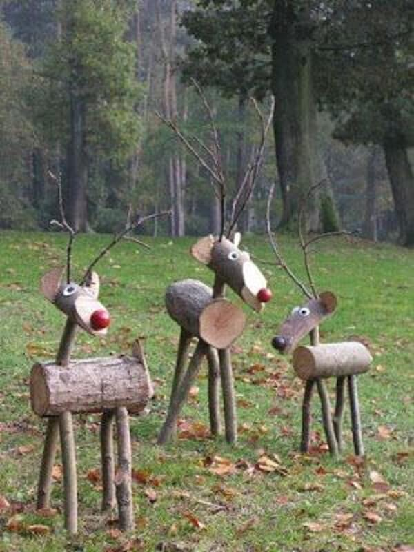 Cute little critters complement the simple and inexpensive Christmas garden decoration
