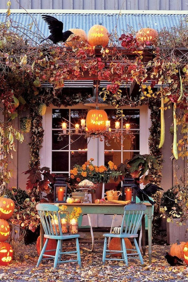 Decoration with halloween pumpkin and dried leaves for outdoor area