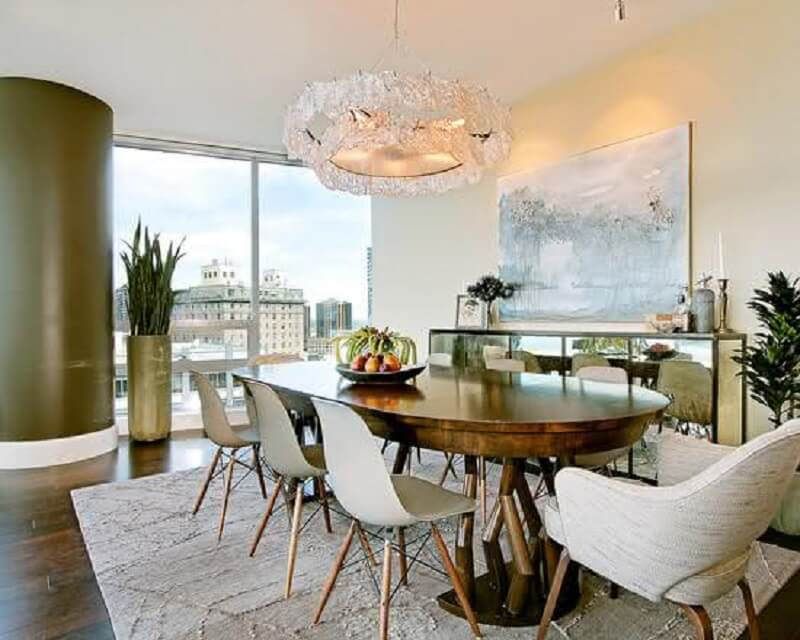 Decorating with buffet, mirror for dining room with a wooden desk of the oval Picture on Pinterest