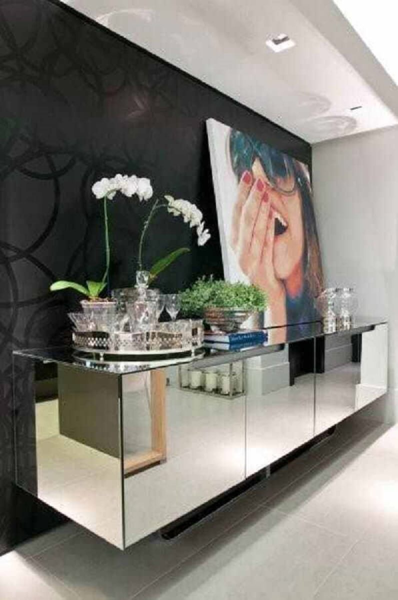The decor is modern with buffet, mirror for dining room, Photo, Magazine, G