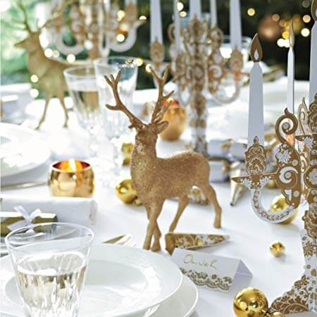 Enfeites de natal para mesa dourada, super sofisticada