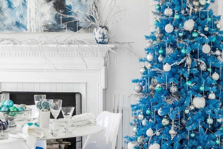 Enfeites especiais para árvore de natal azul