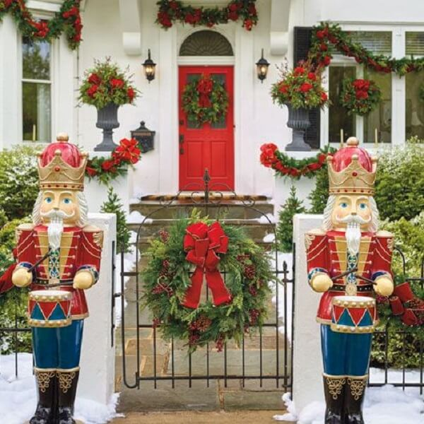 Triumphal entry with Christmas decoration for wonderful outdoor garden