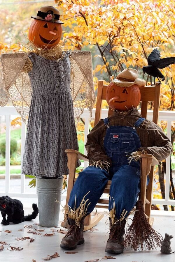 Halloween pumpkin head scarecrows