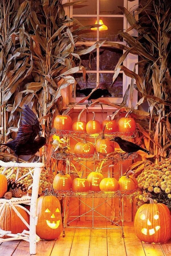 Photo of illuminated halloween pumpkin