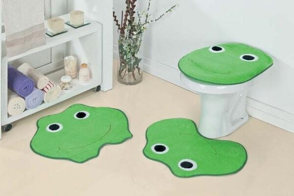 Jogo de tapete para banheiro infantil de sapo