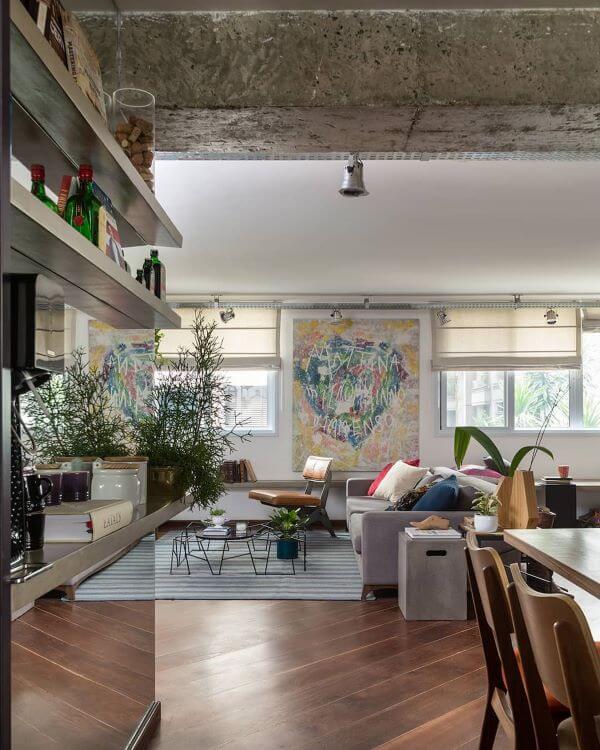 Loft decorado no estilo industrial
