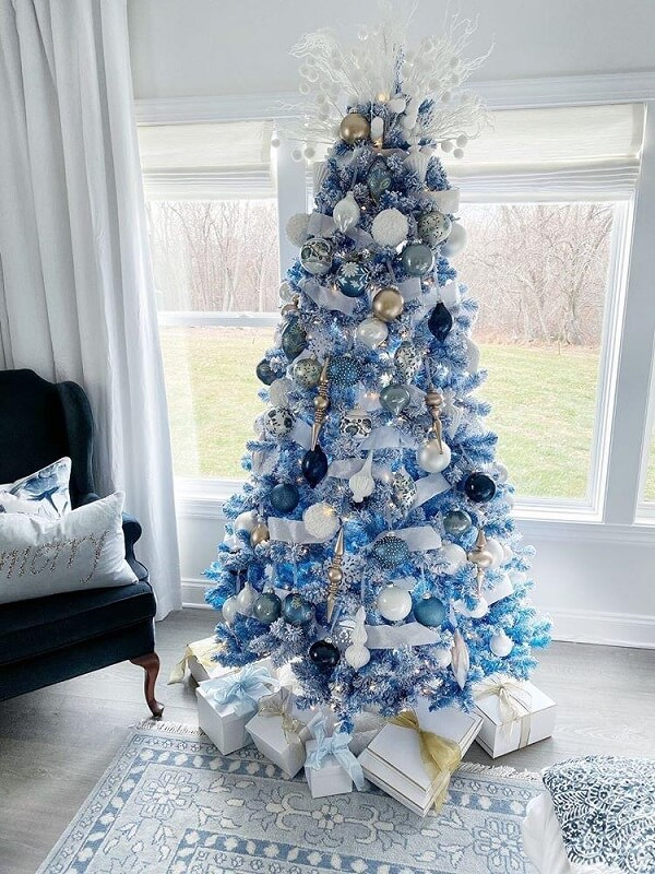 White and blue Christmas tree model