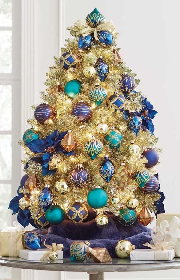 Bold blue and gold Christmas tree model