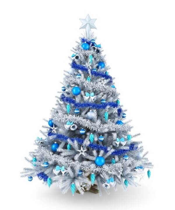 White and blue Christmas tree model that you can find on the market