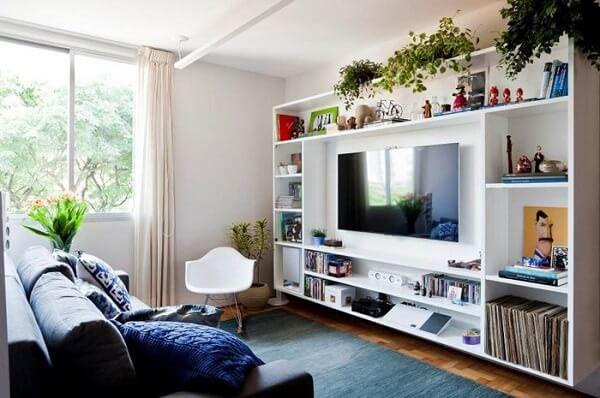 Modelo de estante home branca para sala de estar