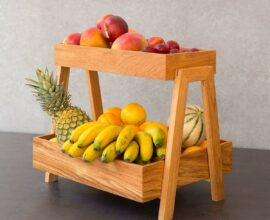 Modelo diferente de fruteira de madeira de mesa Foto Pinterest