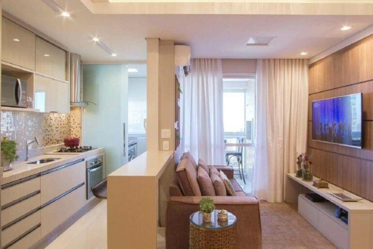 Móveis planejados para decoração de apartamento pequeno com ambientes integrados Foto Arkpad