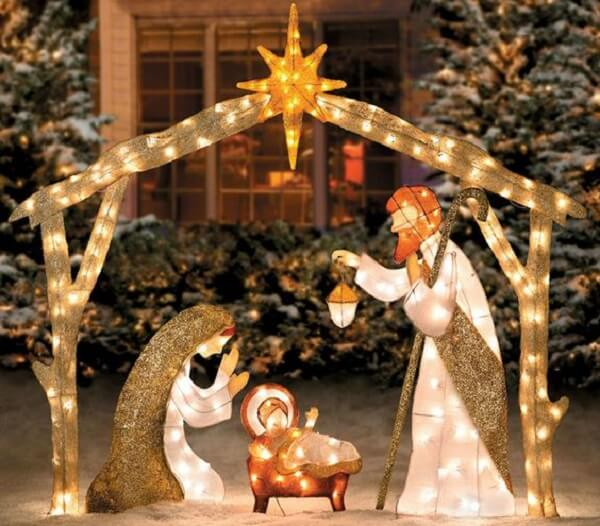 The nativity scene is part of the Christmas decoration for outdoor garden