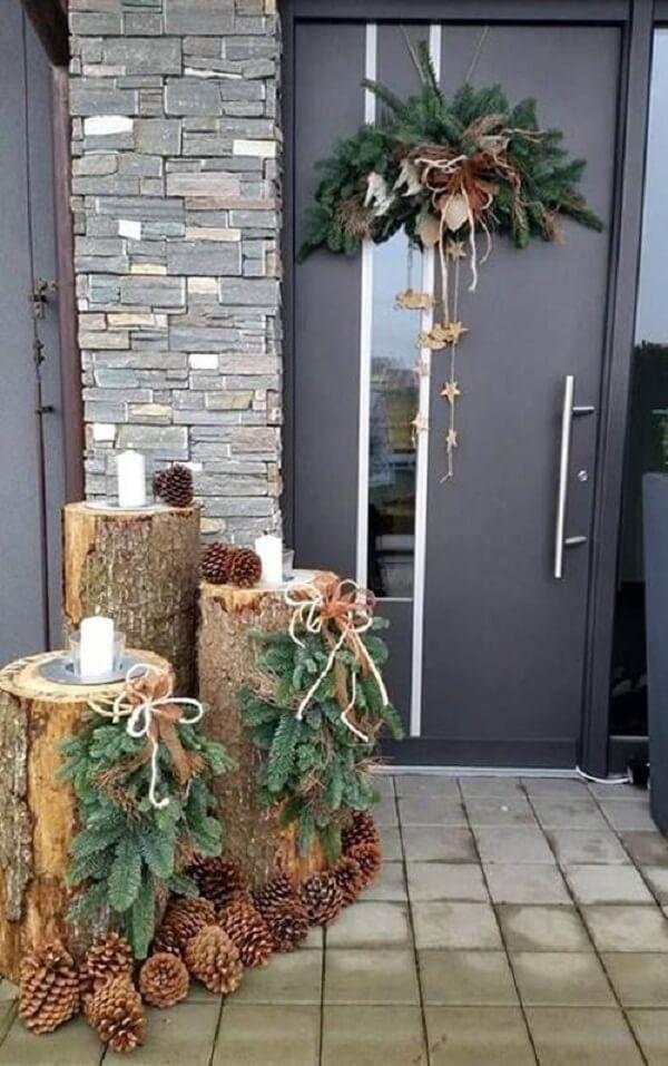 For Christmas decoration for outdoor garden use cut tree trunks