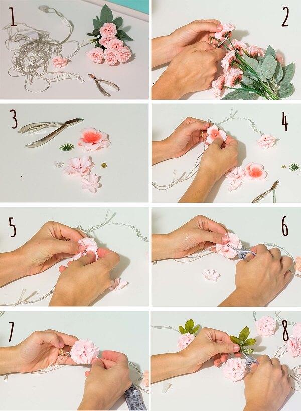Passo a passo de como fazer cordão de luz com flores artificiais