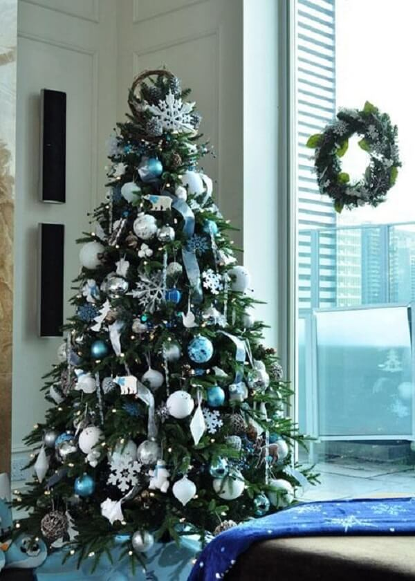 Reserve a space in your environment to set up the blue and silver Christmas tree