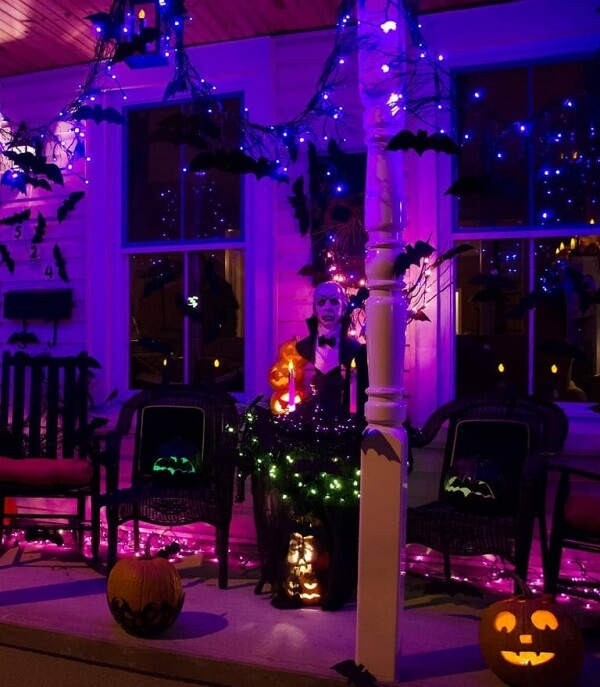 Get inspired by halloween pumpkin lighting and decoration for outdoor area