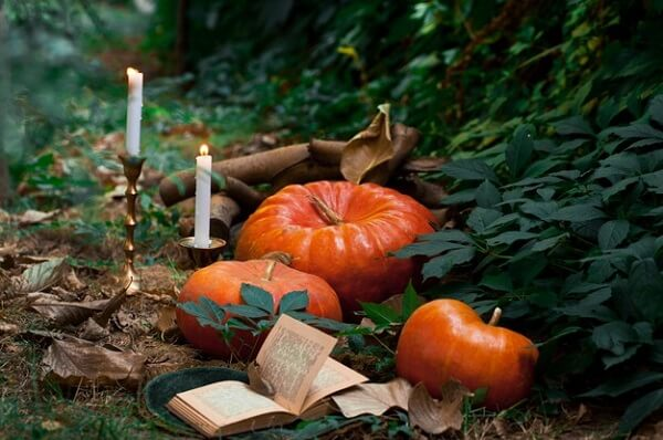Candles and halloween pumpkins can't do in the party decor