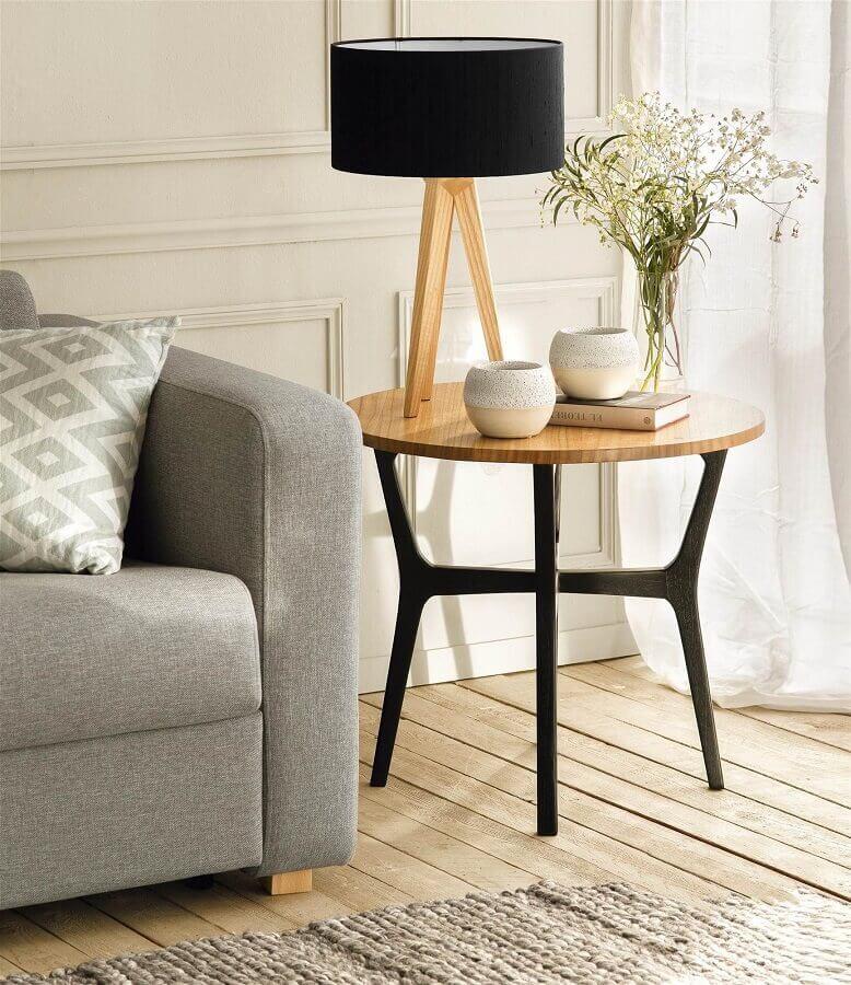 abajur preto para mesa redonda de canto para sala Foto El Mueble