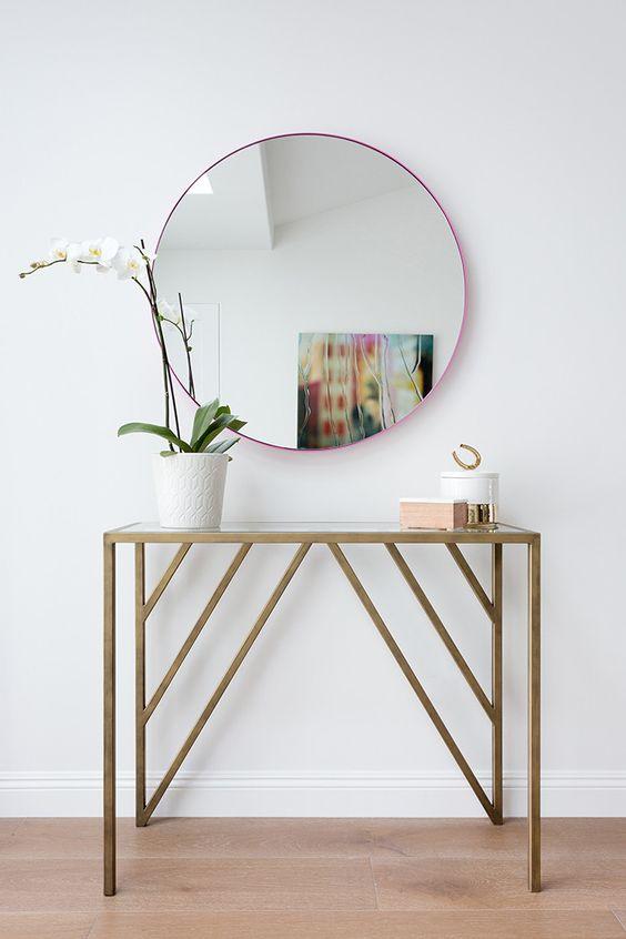 Aparador para corredor com espelho redondo super moderno
