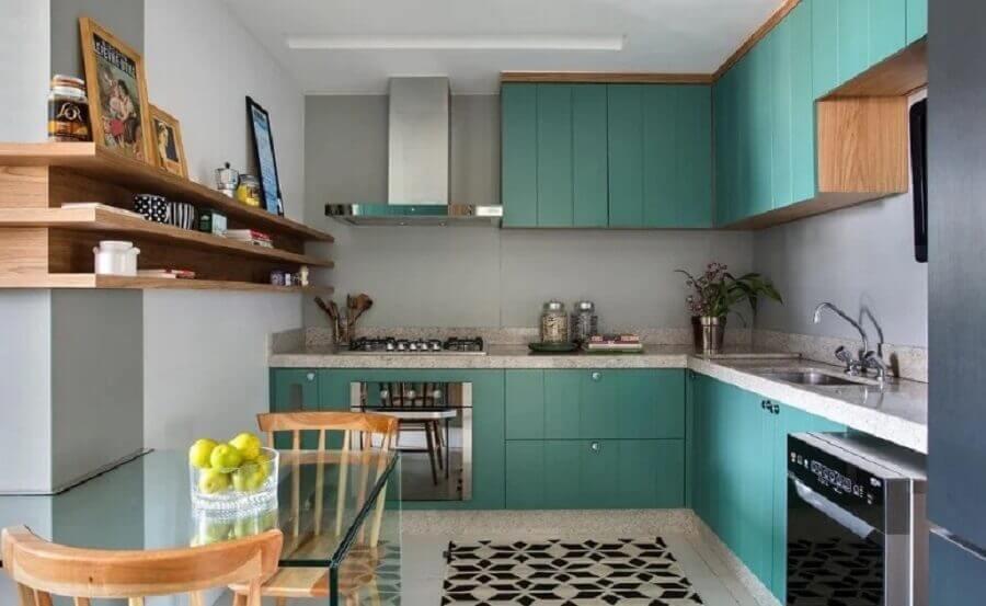 armários verdes para decoração de cozinha planejada de canto Foto Babi Teixeira
