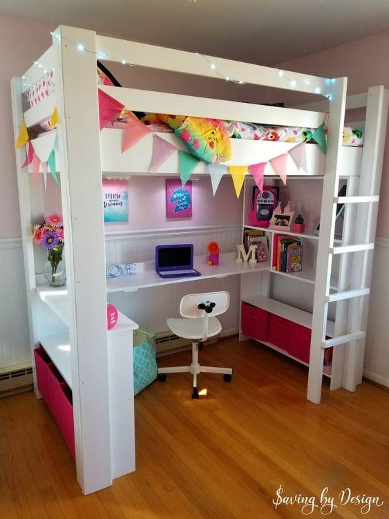 Cama com escrivaninha infantil na parte de baixo