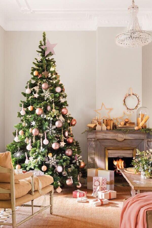 Christmas balls rose gold for decoration of big Christmas tree Photo PUFIK Interiors & Inspirations