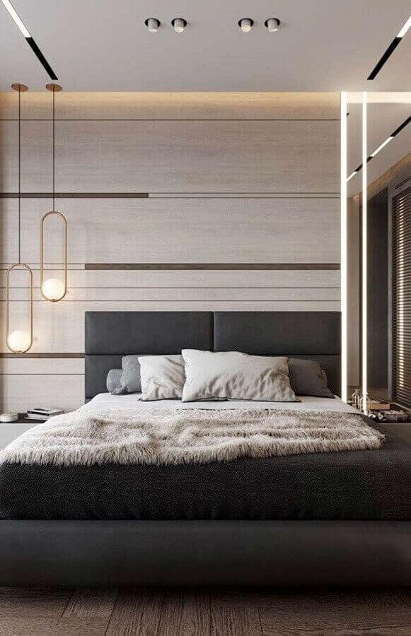 cabeceira cinza escuro para decoração de quarto de casal moderno Foto Futurist Architecture