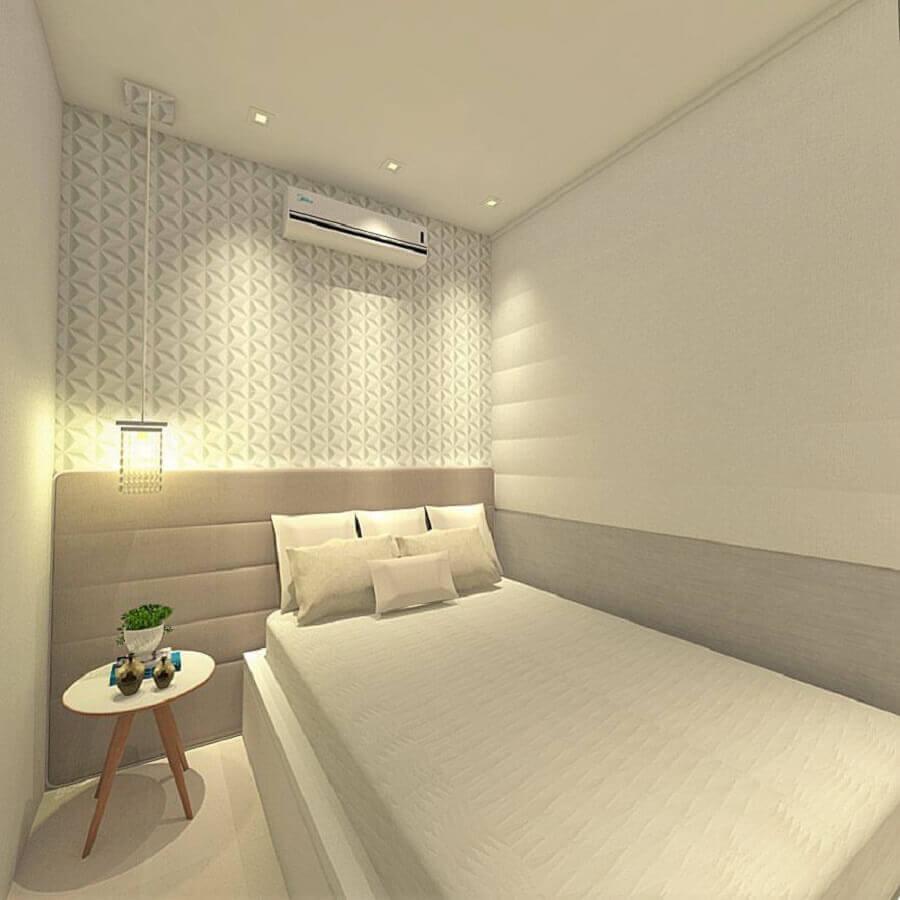 cabeceira cinza solteiro para quarto minimalista com revestimento 3d  Foto Pinterest
