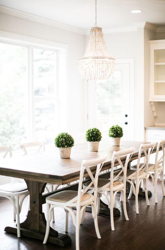 Mesa de jantar branca com mesa de jantar