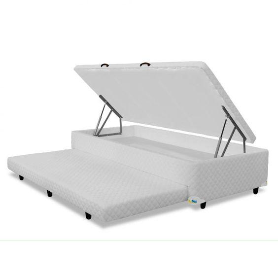 Cama box solteiro com cama auxiliar e baú