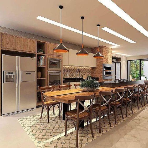 Cozinha com mesa e cadeira paris na decoração