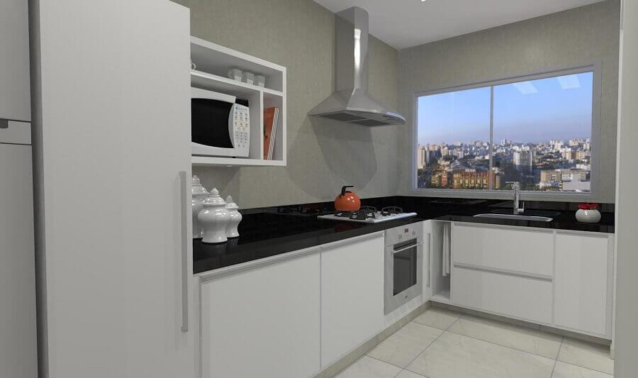 cozinha de canto branca com bancada preta Foto Pinterest