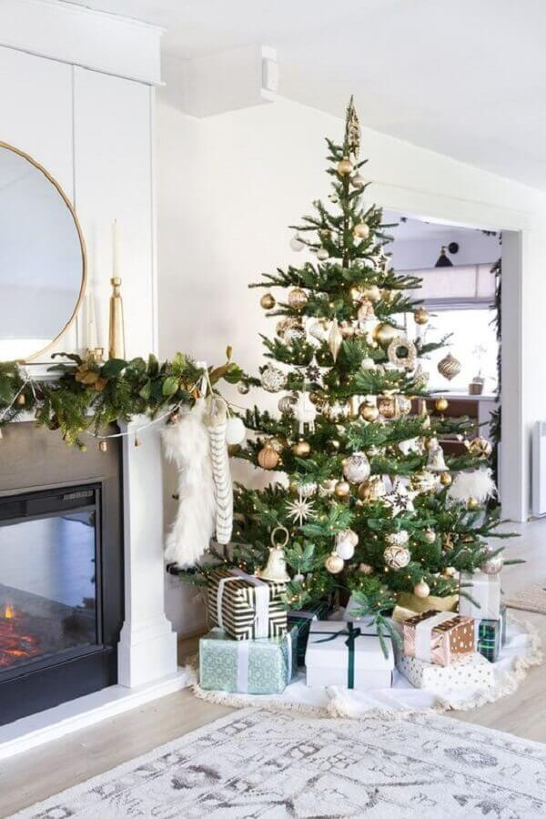 large christmas tree decoration for living room with fireplace Photo We Heart It