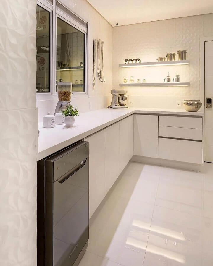 decoração clean para cozinha de canto pequena branca Foto Monise Rosa Arquitetura