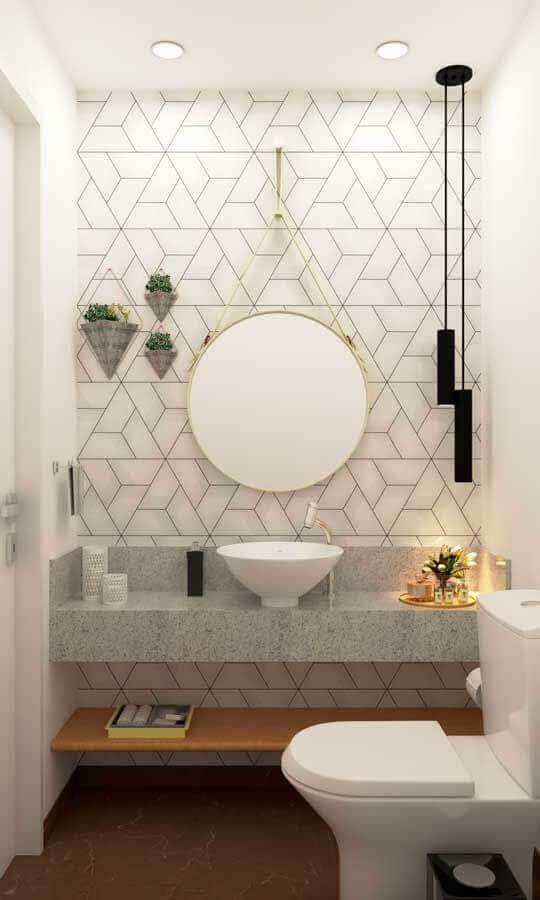 decoração com pendente para bancada de banheiro branco moderno Foto Arquitetura Estilo