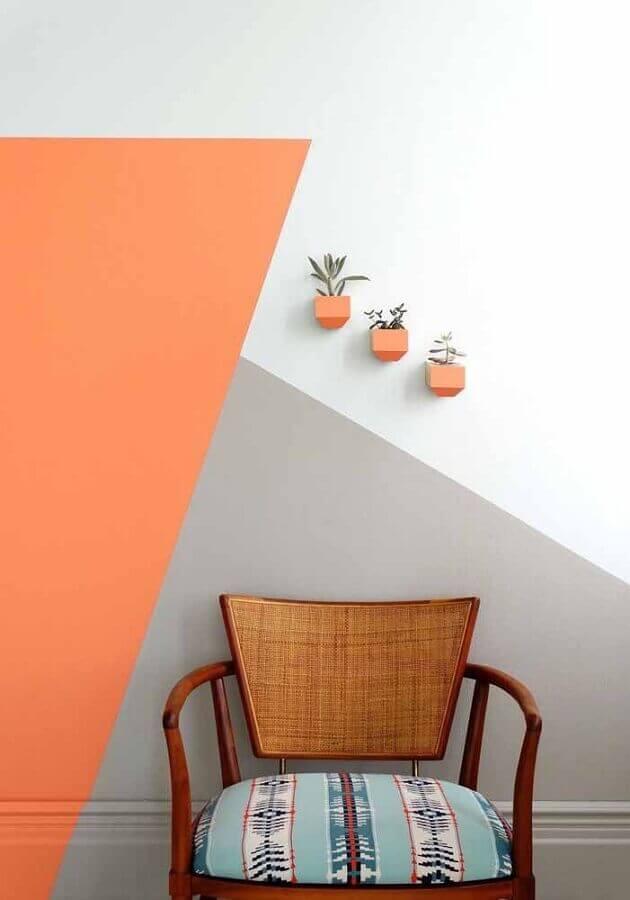 decoração com pintura de parede geométrica  Foto Pinterest