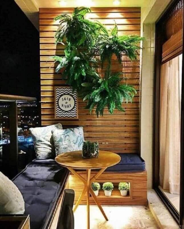 decoração com plantas para varanda pequena planejada com banco de canto  Foto Simples Decoração
