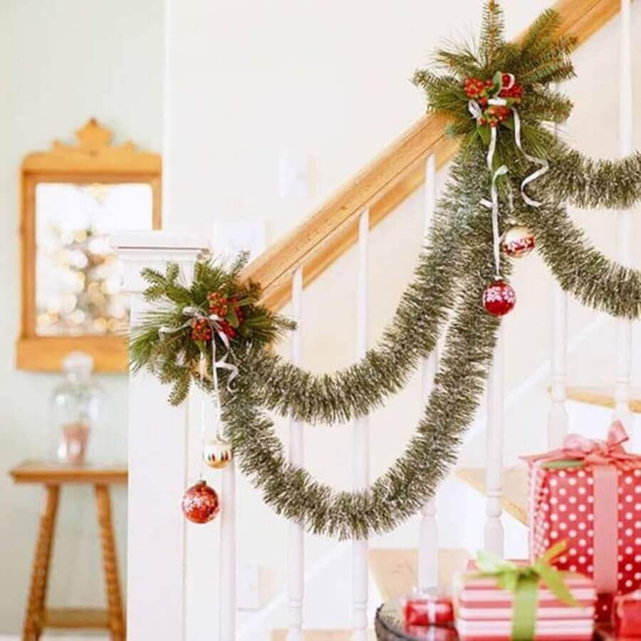 decoration of staircase handrail with Christmas party Photo Better Homes and Gardens